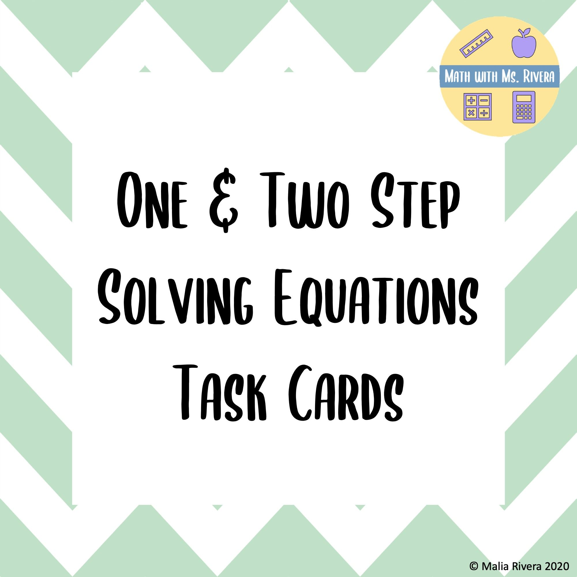 One Amp Two Step Equation Task Cards In