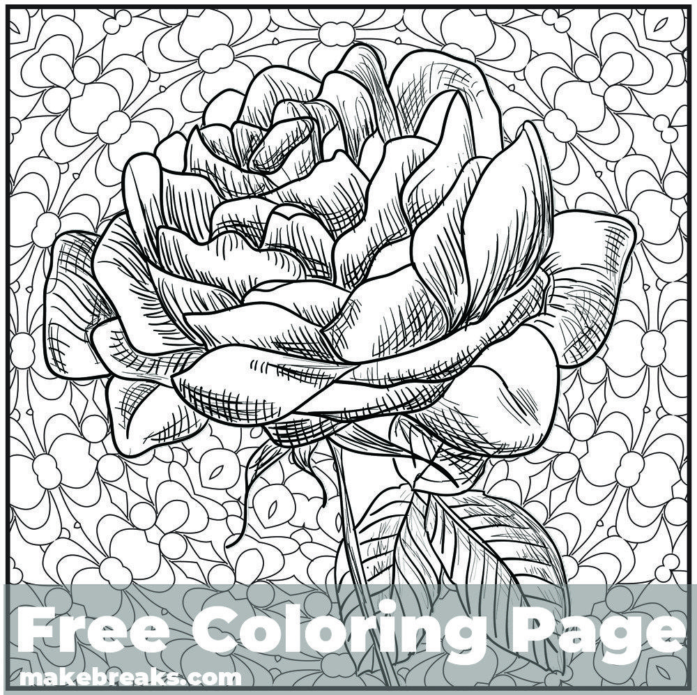 Romantic Rose Flower Coloring Page Rose Coloring Pages Flower