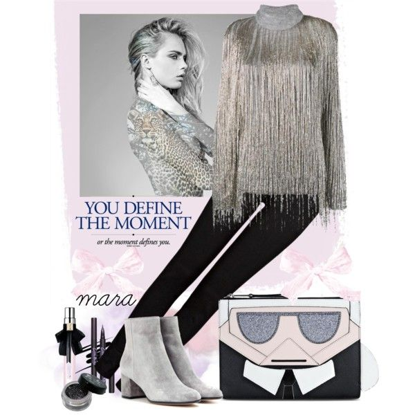 You define the moment... :-) by marastyle on Polyvore featuring Mode, Valentino, J Brand, Gianvito Rossi, Karl Lagerfeld and Yves Saint Laurent