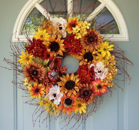 Fall+Wreath++Sunflower+Wreath++Fall+Door+Wreath++by+countryprim