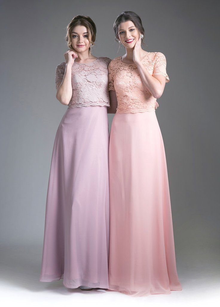 Mock Two Piece Long Dress with Lace Top by Cinderella Divine CF160