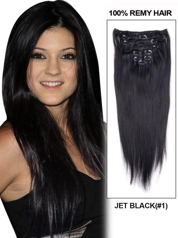 Kylie Jenner 18 Silky Straight Natural Black Clip In Hair