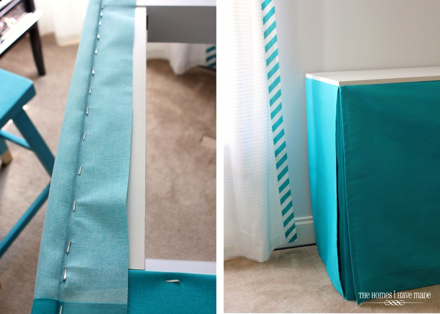 Use A Staple Gun And Fabric To Give A Nice Clean Tailored Table Skirt To  Any Table, Desk Or Bookshelf!