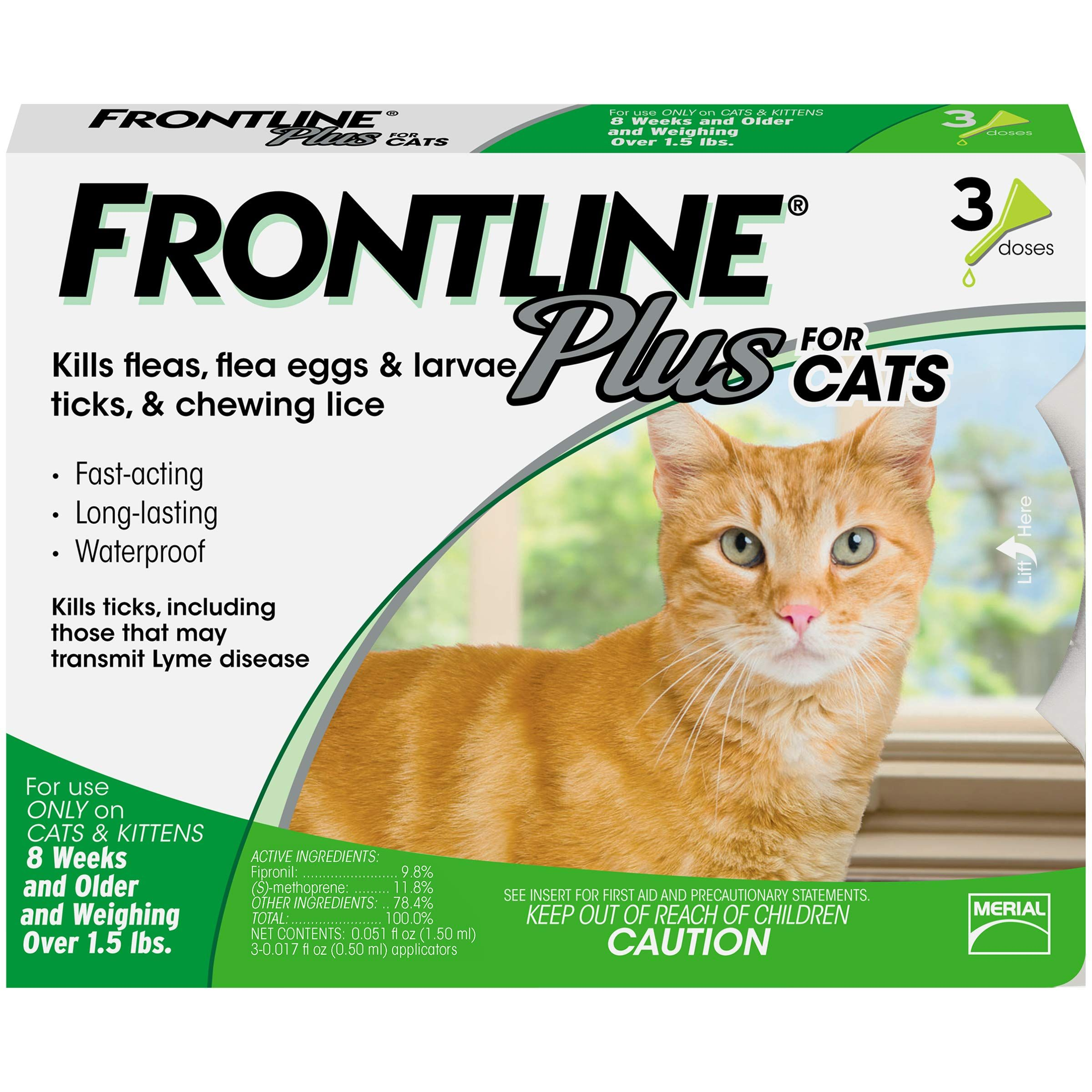 Frontline Plus For Cats 3 Month Frontline Plus For Cats Tick Treatment For Cats Cat Fleas