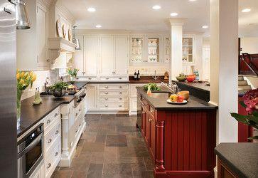 adams avenue, short hills traditional kitchen - slate floors