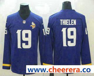 Men's Minnesota Vikings #19 Adam Thielen Nike Purple Therma Long  hot sale