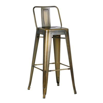 "The industrial style cafe barstool recalls the iconic atmosphere of French bistros and coffee shops. Crafted from solid metal, this 24"" bar stool with back has subtle abrasions for a distressed aged look. Perfect for modern or contemporary spaces, this bar stool can accommodate any space or home style."
