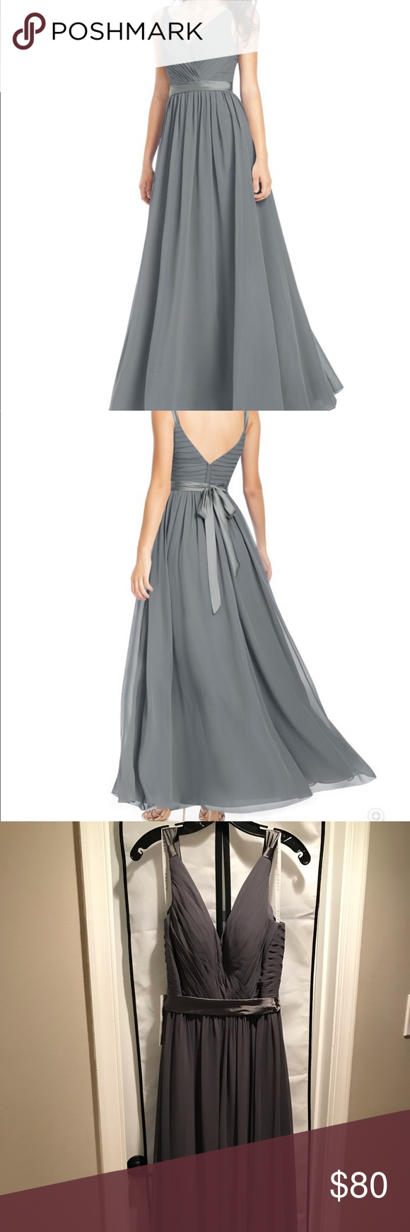 af336a8ad47 Azazie Leanna Steel Grey Size 10 Azazie Leanna bridesmaid dress. Steel  grey. Never worn. Never altered. Size 10. V neck dress features a bow tie  back at ...
