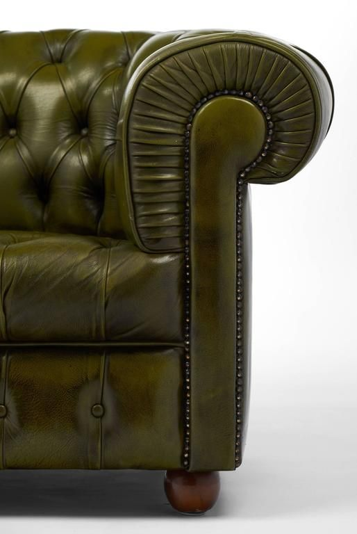 Vintage Pair Of Green Leather Chesterfield Club Chairs 9