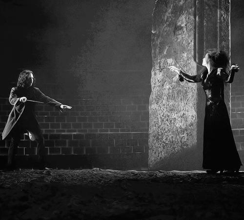 Sirius and Bellatrix. (movie,film,harry potter,sirius black,bellatrix lestrange,black and white)