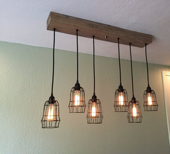 Reclaimed Oak Barn Beam Linear Wood Chandelier 6 Cage