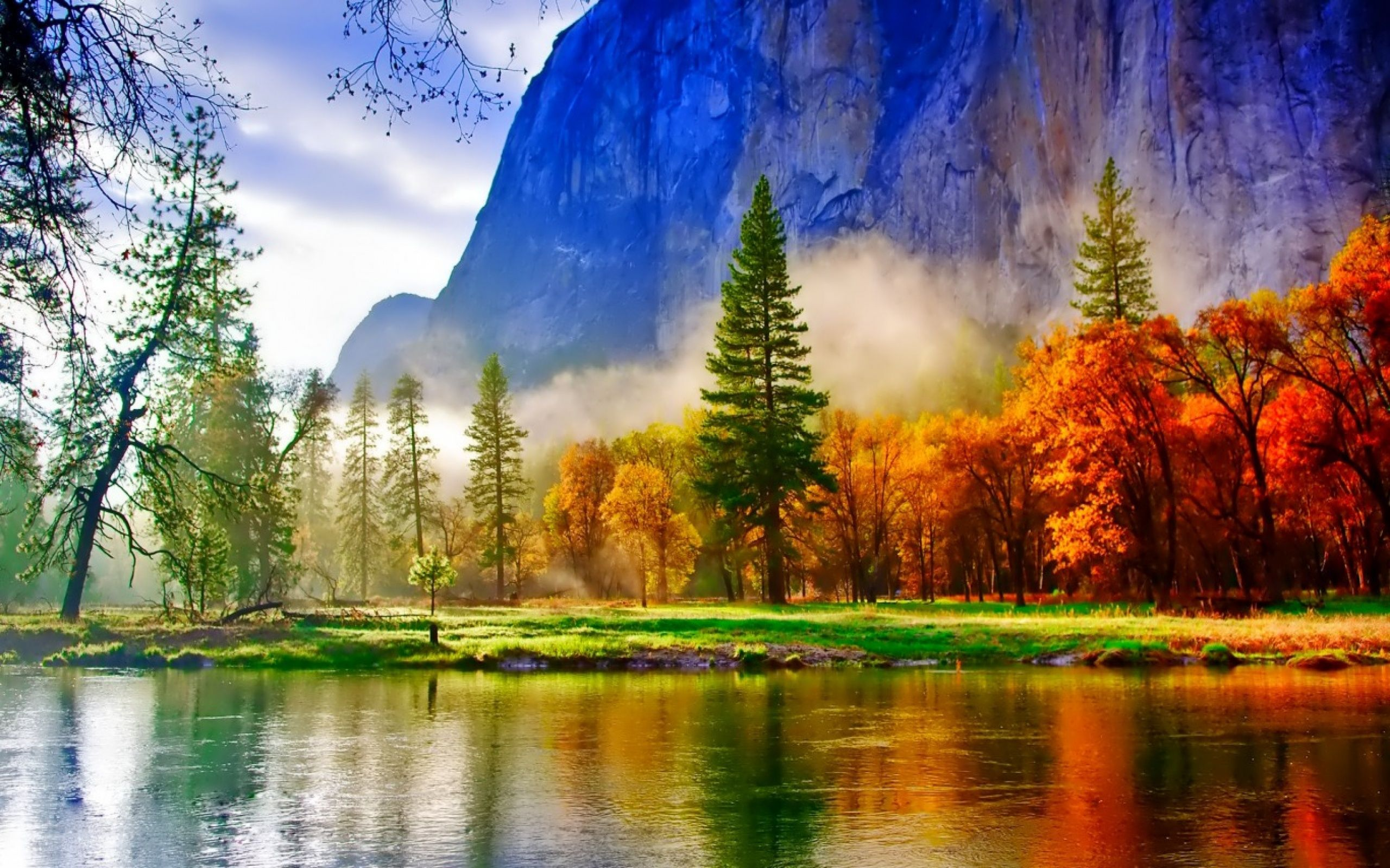 Colorful Trees With Lake Landscape Jpg 2560×1600 640 x 480