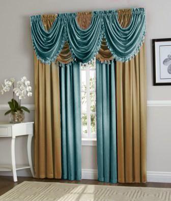 Hyatt Curtain Set Blue Gold Luxury Curtains Living Room Luxury Curtains Elegant Curtains