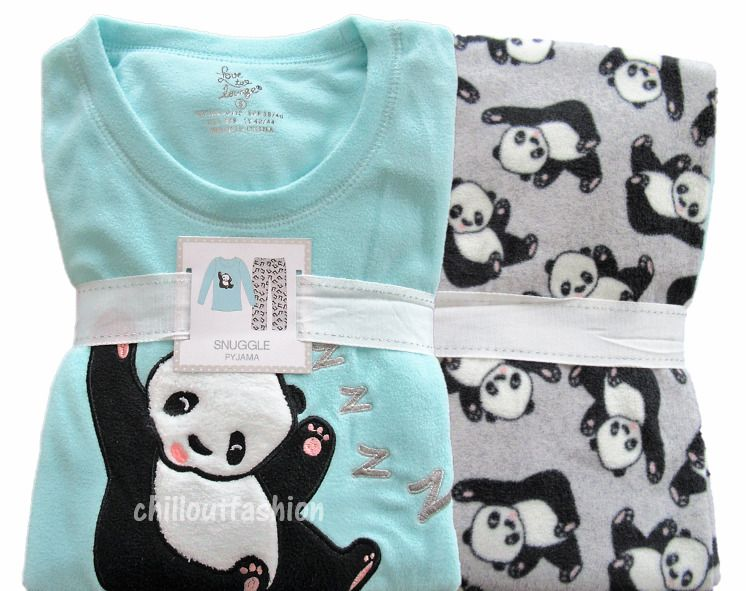 d2904dfc5347 Details about Ladies Fleece PANDA Pyjamas Winter PJ Sets Womens ...