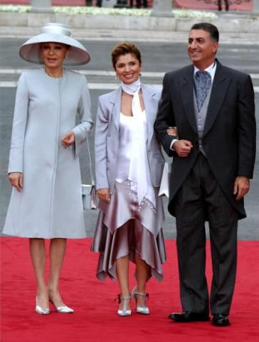 Empress Farah of Iran with her son, the Crown Prince, and his wife, the a Crown Princess at the Spanish Royal wedding in 2094