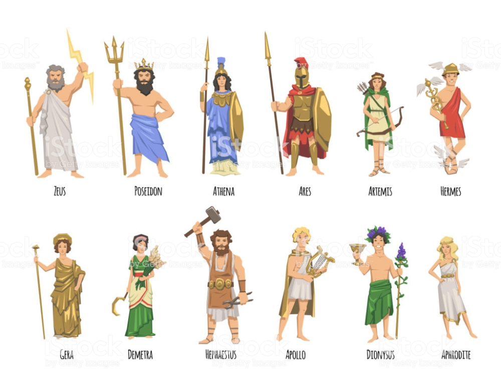 Pantheon of ancient Greek gods, Ancient Greece mythology. Set of…