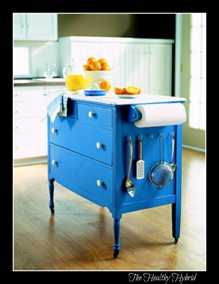 An old dresser turned into a kitchen island, love it! Craft Ideas