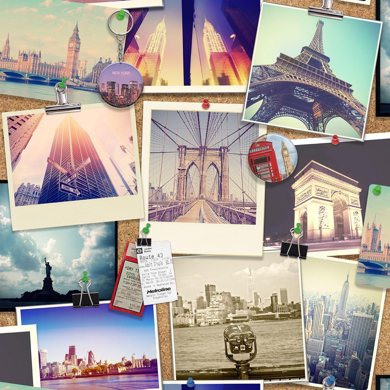 Photographic Pinboard Wallpaper Departments Diy At B Amp Q Wallpaper Diy Wallpaper Travel Themed Room