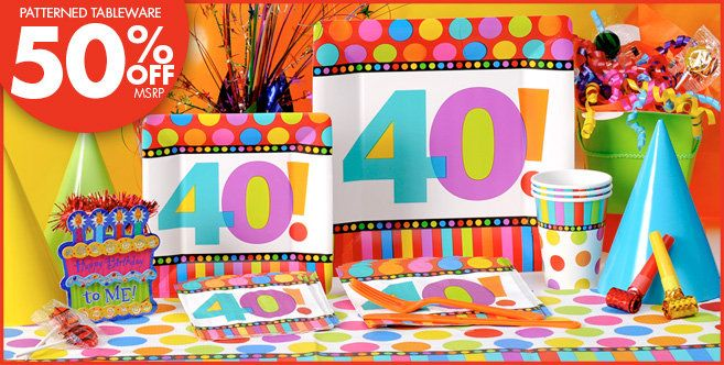 40th Birthday Dots Stripes Party Supplies Party City Happy Birthday Party Supplies Birthday Party Supplies Decoration Childrens Party Supplies