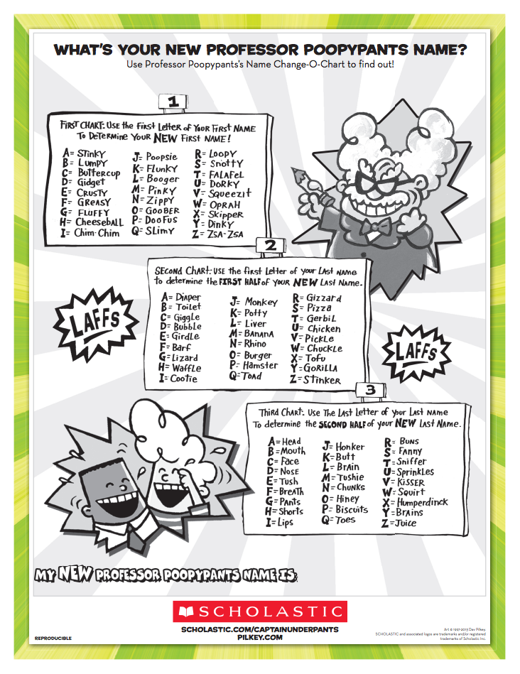 Give Your Captain Underpants Loving Child A Hilarious Name Switch With This Professor Ypants S Change O Chart Printable
