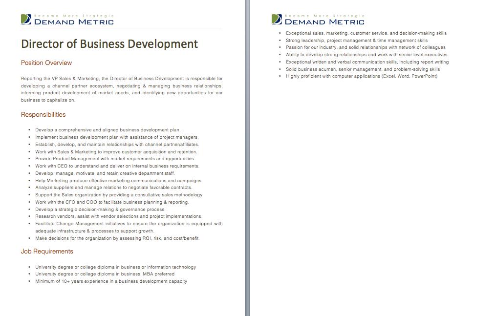 Director of Business Development Job Description A