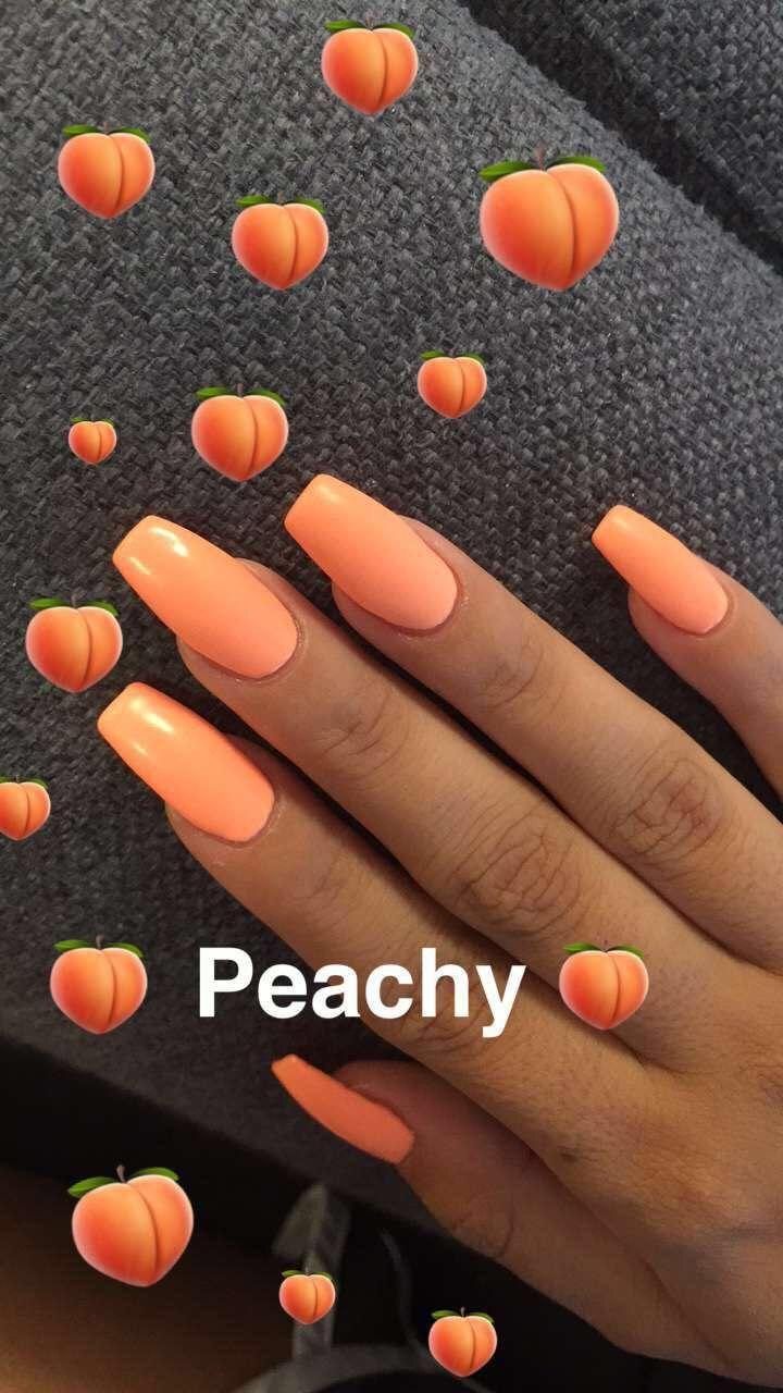 Peach Nails w/ emojis #spring #coffinnails #summernails