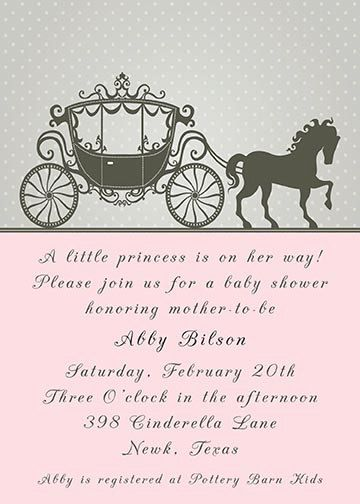Cinderella Princess Horse Carriage Baby Shower Or Birthday Invitation    Gray And Pink   Colors And Wording Can Be Changed