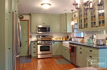 Sage Green Country Cottage Kitchen With Farmhouse Sink Transitional Other Metro Caves Kitchens