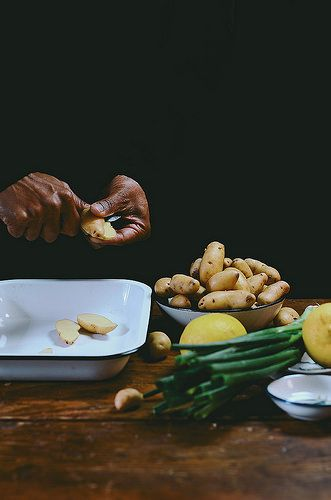 Coriander Roasted Fingerling Potato Salad with Avocado | A Brown Table | bởi abrowntable