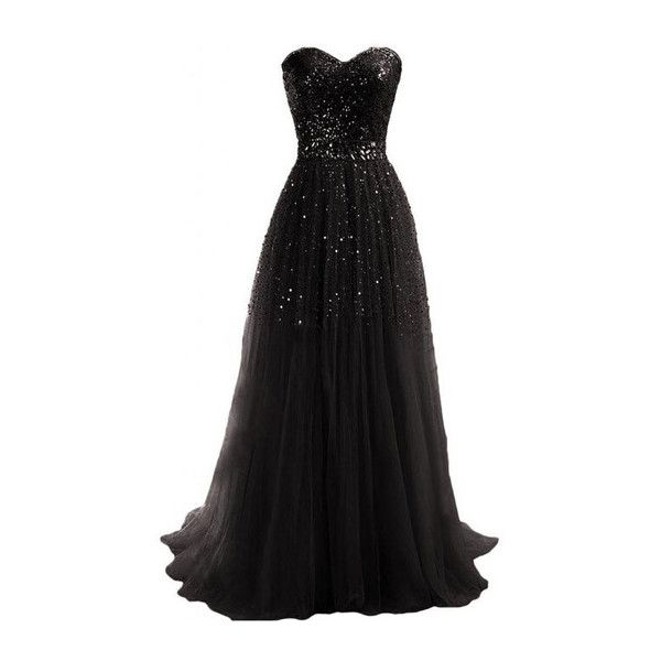 97f2a63fd2 Strapless Sequins Decorated Black Tube Dress ($29) ❤ liked on Polyvore  featuring dresses, gowns, vestidos, black, strapless maxi dress, black gown,  ...