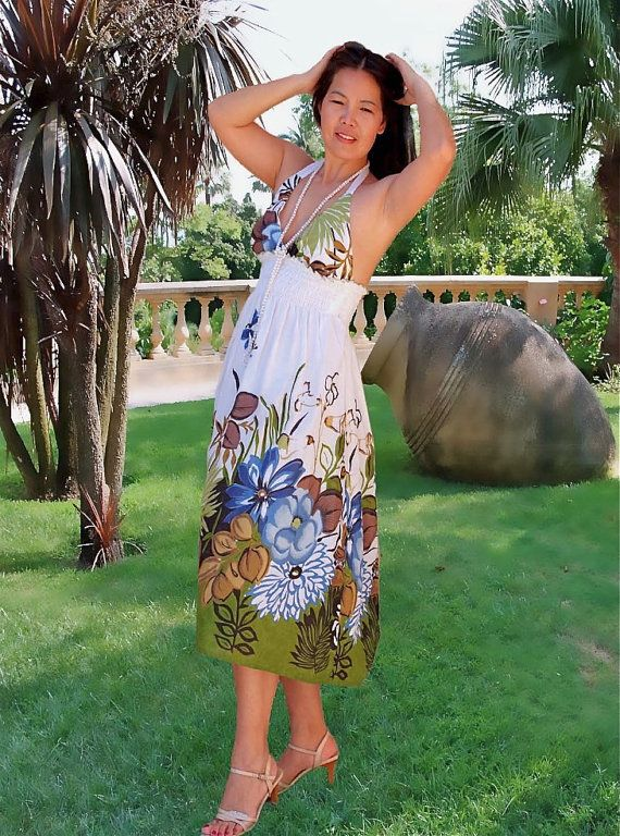 Sun dress/Women  dress floral print/strap dress by Danideng, $45.00