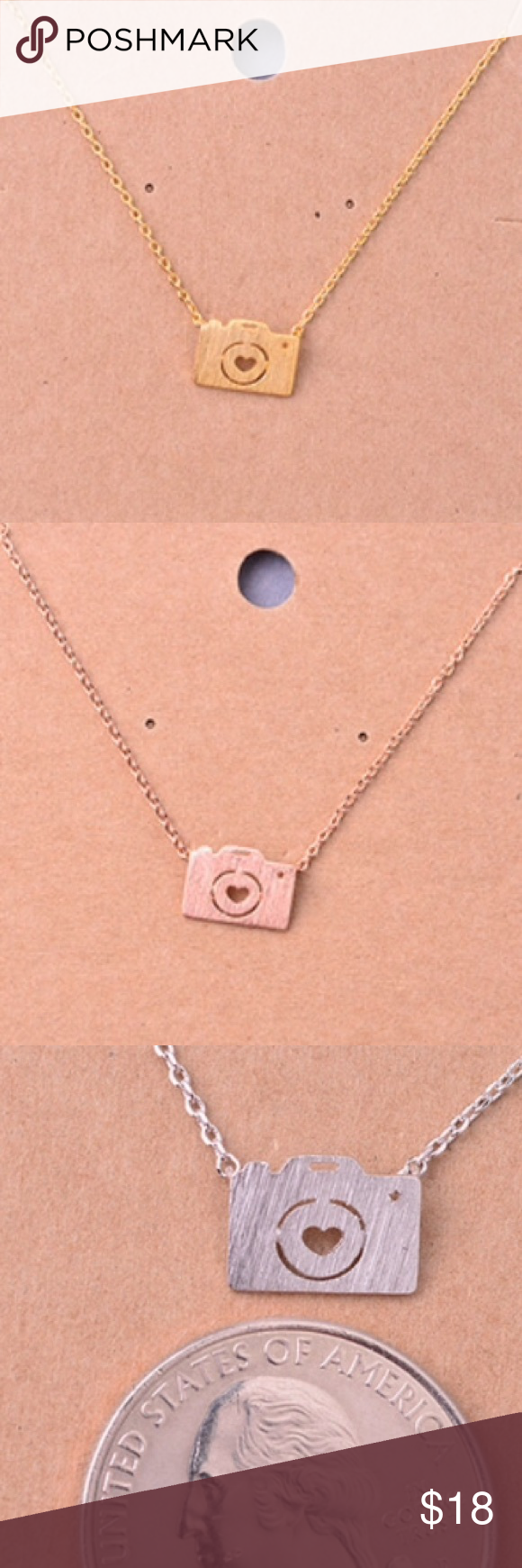 "Camera Necklace Very cute! I'm really into these small necklaces for some reason. Gold tone mini camera pendant necklace. Short necklace about 16"" chain. Also available in rose gold tone. This item is available! Jewelry Necklaces"