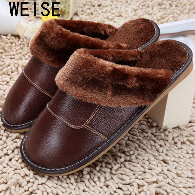 Photo of US $9.32 37% OFF|2020 Genuine Leather Slippers Home Slippers  High Quality Women Men Slippers Plush Warm Indoor  Shoes Men  Women Size 35 44|slippers plush|home slippersindoor shoes men – AliExpress