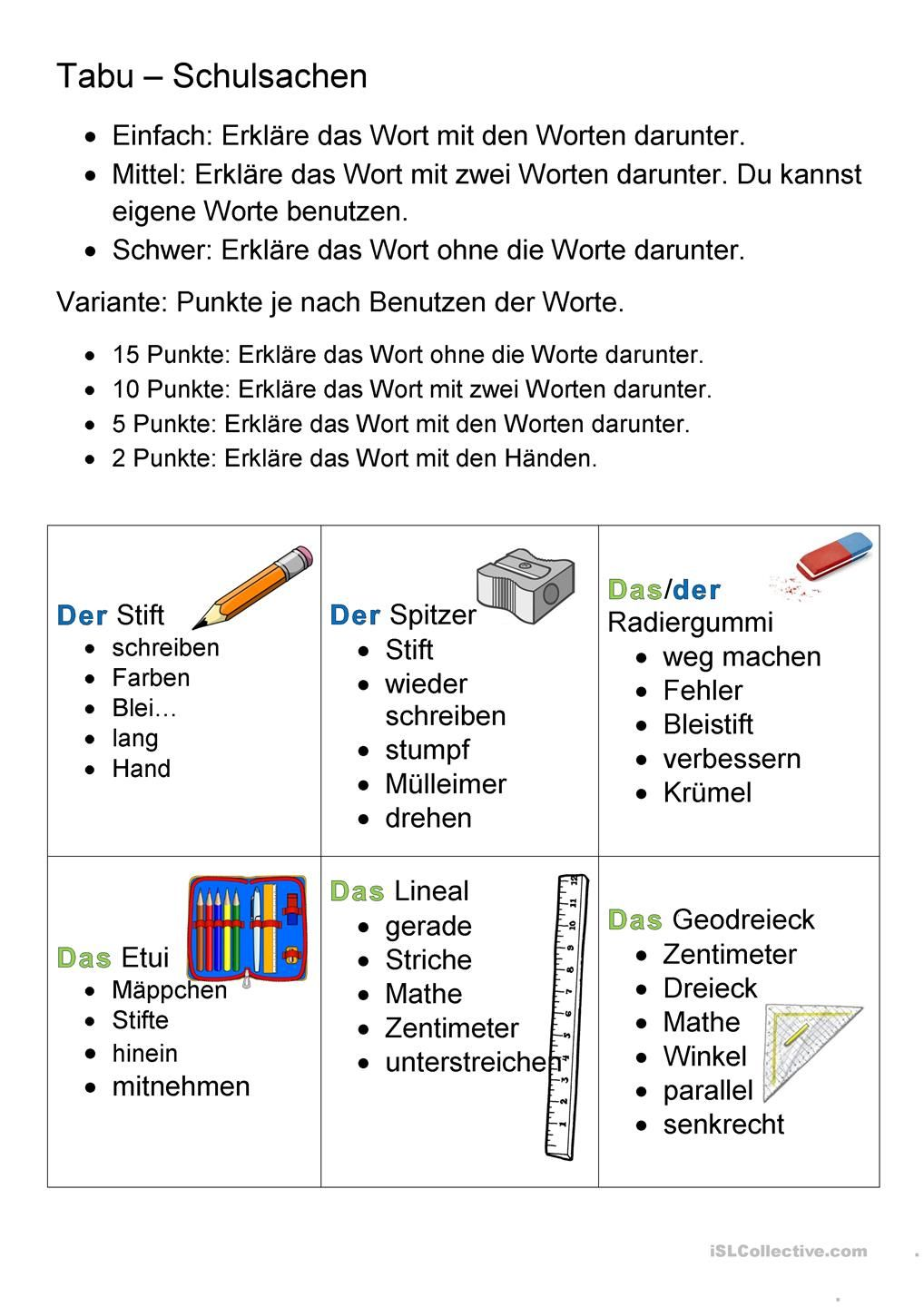 Schulsachen Tabu Differenziert | nemčina | Pinterest | German ...