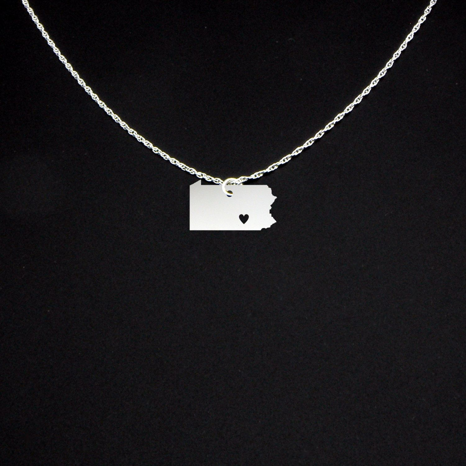 Pennsylvania Necklace - Sterling Silver Love Heart