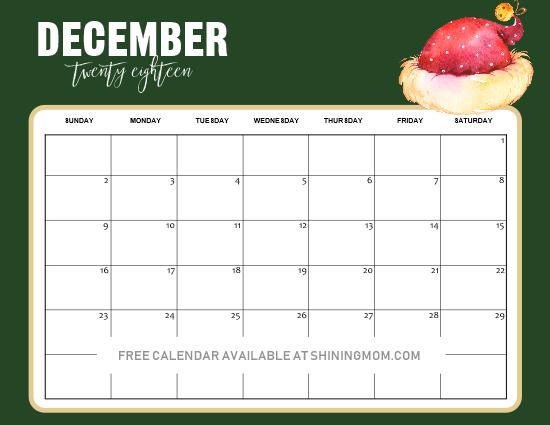 FREE Christmas-Themed December Printable Calendars ...