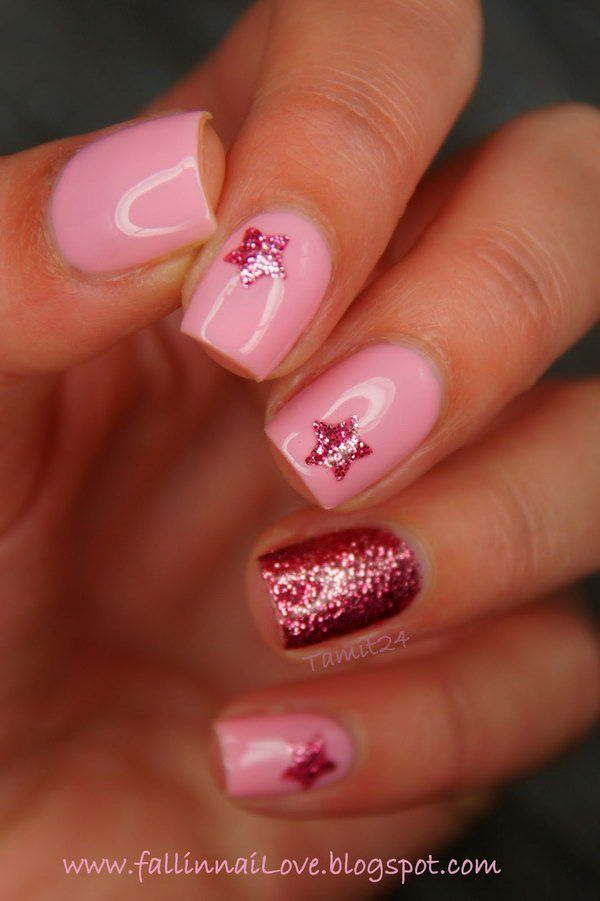 Twinkle Red And Pink Nail With Stars This Is All Sorts Of Perfect I