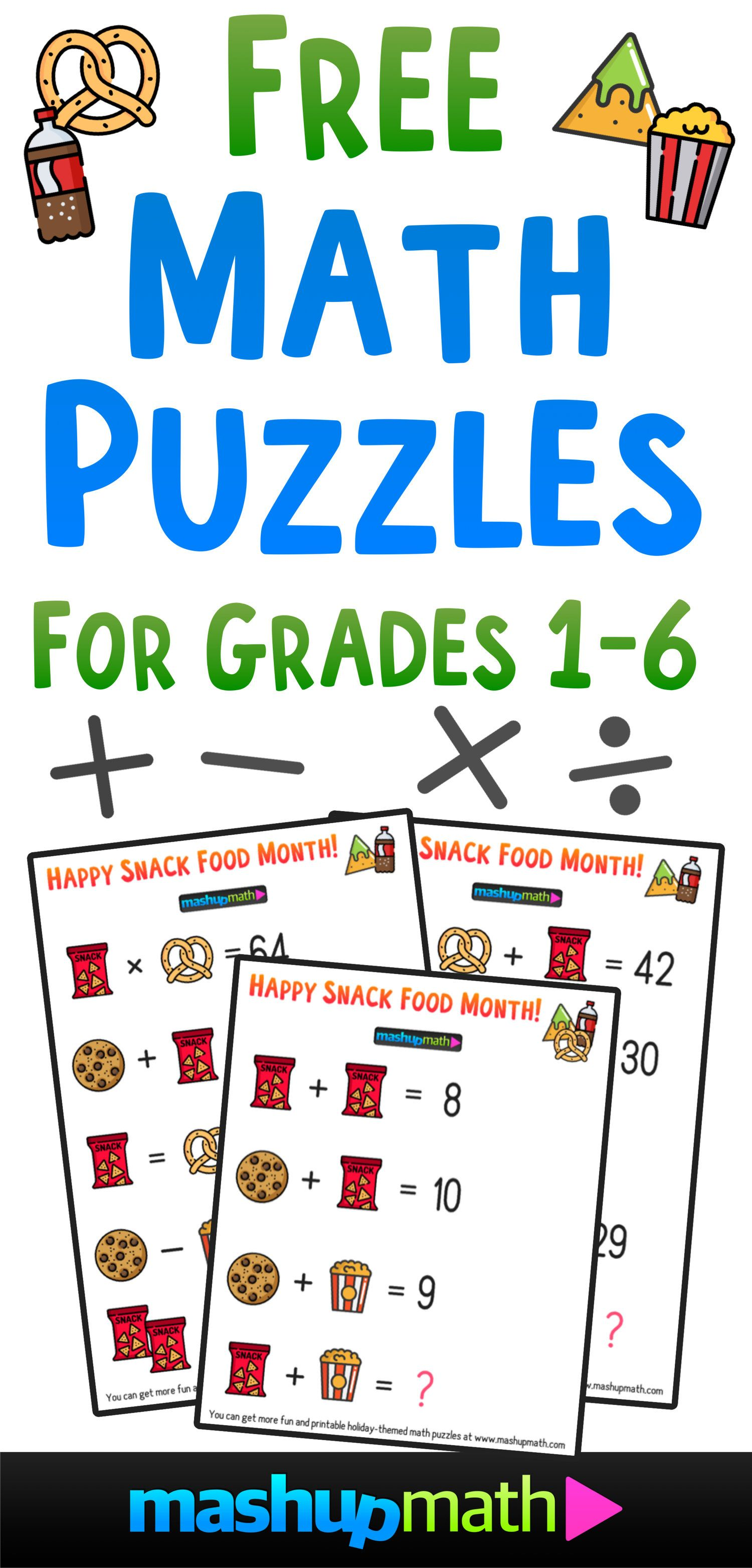 Free Math Brain Teaser Puzzles For Kids In Grades 1 6 To Celebrate Snack Food Month Fun Math Worksheets Maths Puzzles Free Math