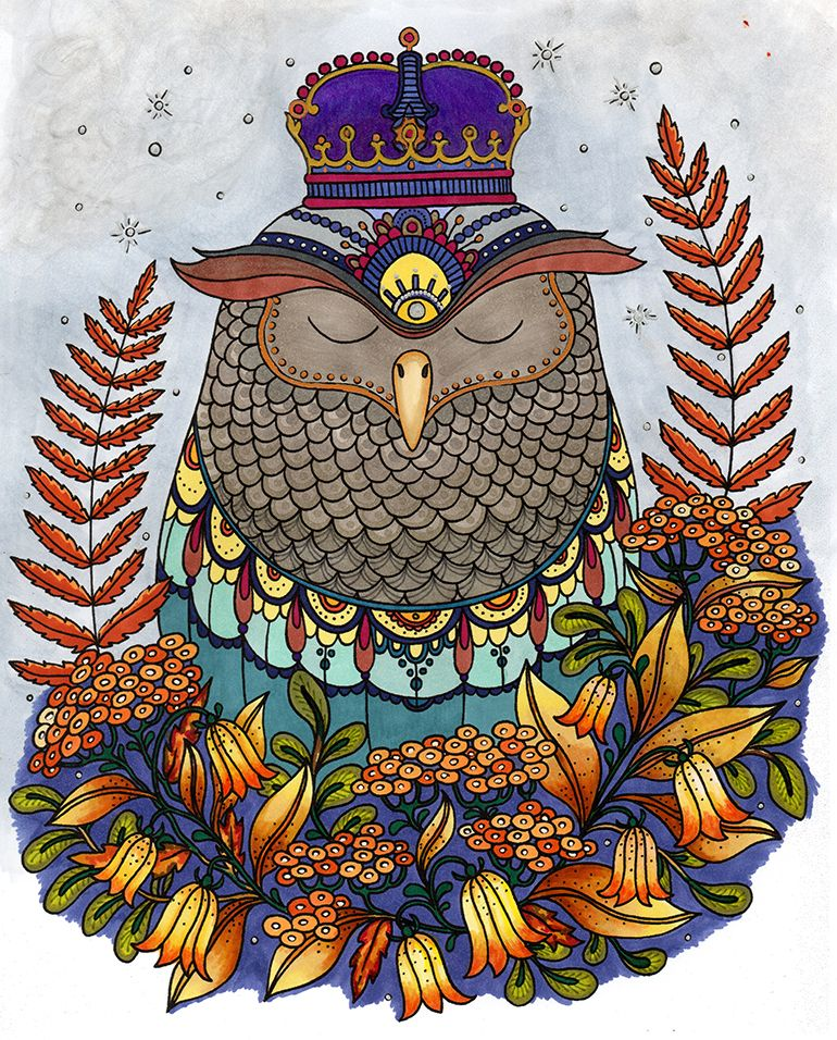 Owl King in autumn colours. from Coloring book Daydreams by Hanna Karlson