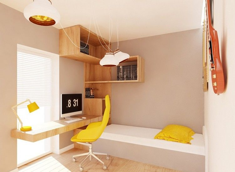 Wandfarbe Creme Holz Schreibtisch Und Regalsystem Und Gelbe