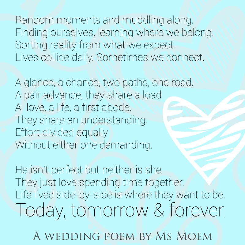 Wedding Poem Today Tomorrow Forever By Ms Moem