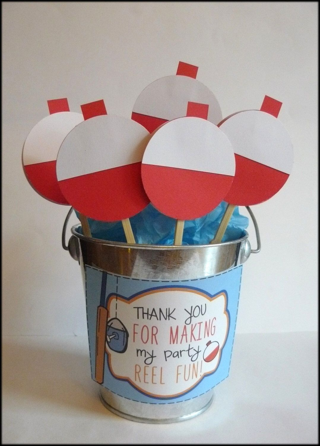 Fishing Party Cupcake Toppers - Fishing Bobbers, Party Decorations ...