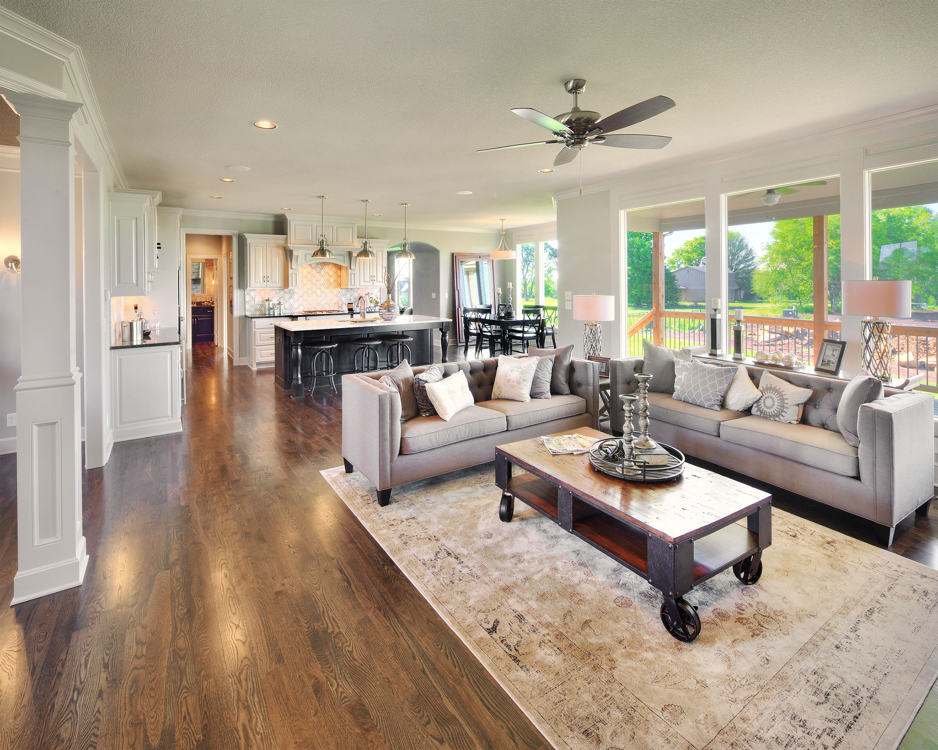 Open concept living by bickimer homes interior design for Open concept house