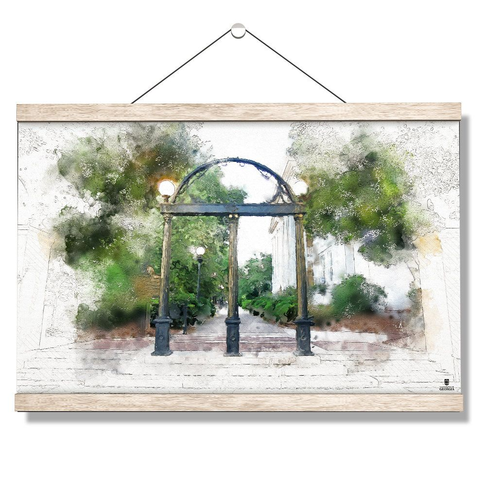 University Of Georgia Arch Painting Hanging Canvas Uga Arch Georgia Tradition Athens Georgia Graduation Hanging Canvas Scroll In 2020 Hanging Canvas College Wall Art Canvas Wall Art