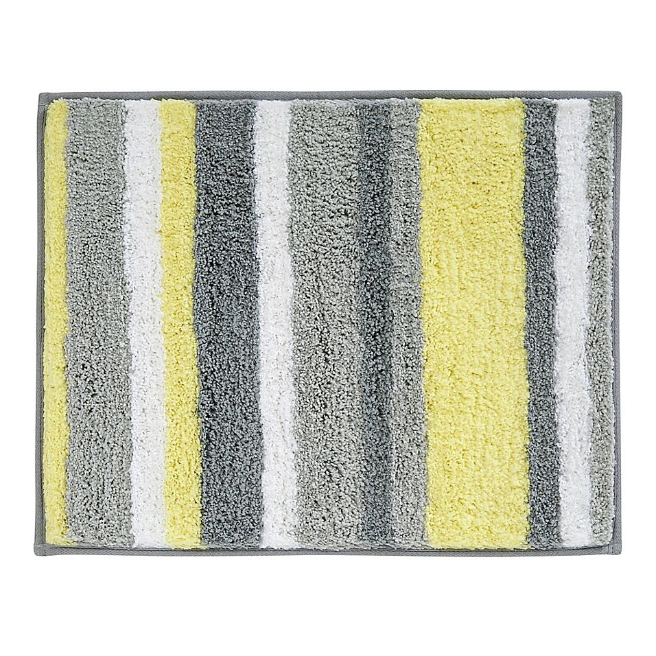 Idesign 21 X 17 Microfiber Stripz Bath Rug In Yellow Grey Yellow