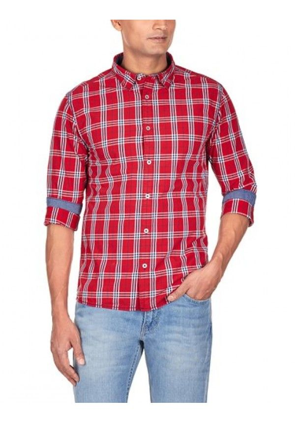 Mens Full Sleeves Slim Fit Casual Check Shirt Casual Check Shirt ...