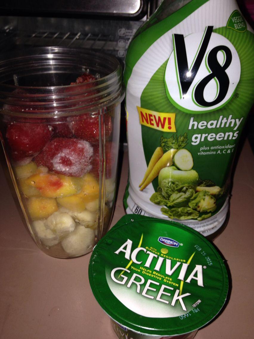 New Smoothie Recipe,  Strawberries, Pineapples, Mangos, Bananas #V8 Healthy Greens Juice, Activia Greek Yogurt