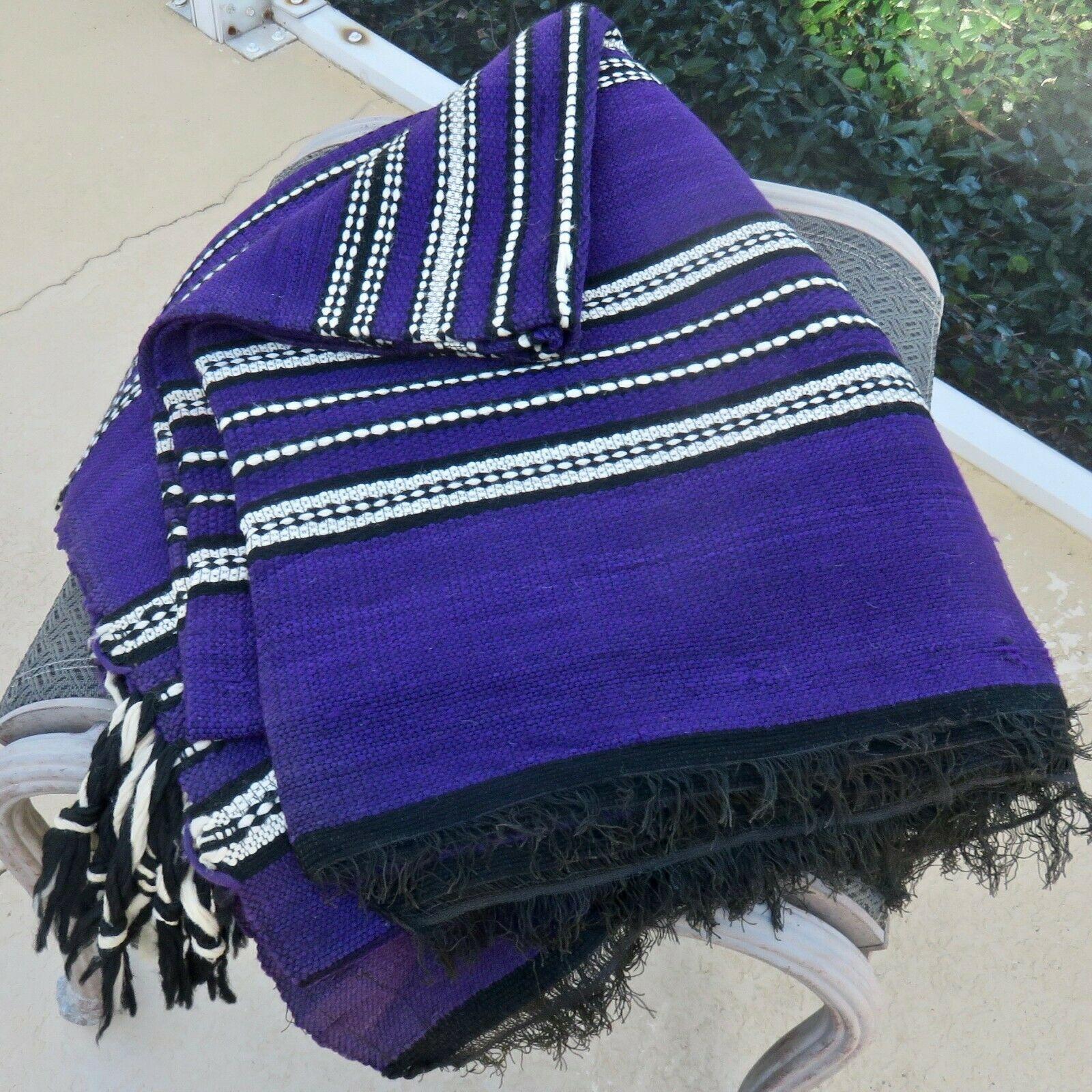 Vintage Handwoven Textile Blanket Rug 100 Wool Purple Black White 94 X 67 Hand Woven Textiles Hand Weaving Hand Woven Blanket