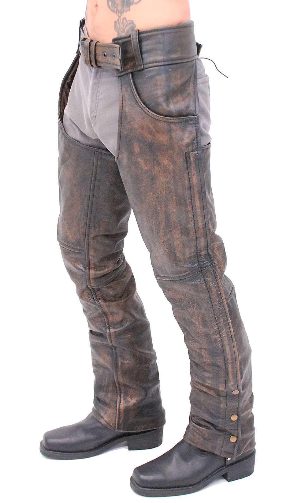 Premium Heavy Brown Vintage Deep Pocket Chaps Ca7202pn Biker Wear Motorcycle Chaps Leather Men