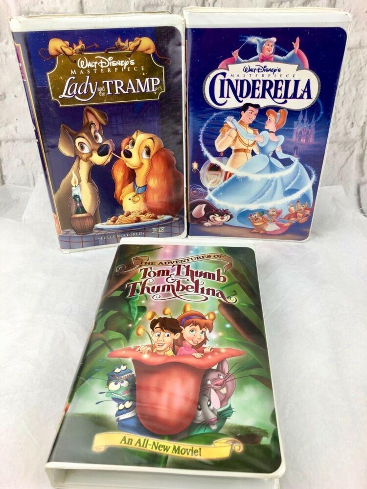 Vintage Walt Disney Cinderella Lady And The Tramp Tom Thumb Thumbelina Vhs Tapes Ebay Walt Disney Cinderella Cinderella Book Lady And The Tramp